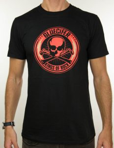 "GLUECIFER ""Red Skull & Bolt"" T-Shirt BLACK - S"