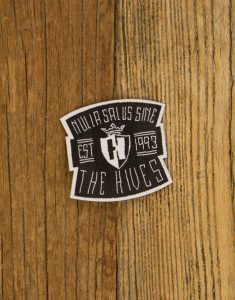 "THE HIVES ""Nulla Salus Handwritten"" Iron On Patch BLACK Small 5x4cm"
