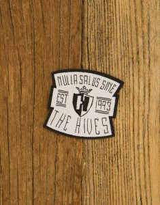 "THE HIVES ""Nulla Salus Handwritten"" Iron On Patch WHITE Small 5x4cm"