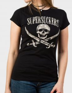 "SUPERSUCKERS ""Jolly Roger"" Girl Shirt BLACK - L"