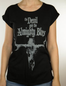 "THE DEVIL AND THE ALMIGHTY BLUES ""Moose Skull"" Girl Shirt BLACK - S"