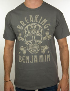 "BREAKING BENJAMIN ""Grey Skull"" T-Shirt CHARCOAL - L"
